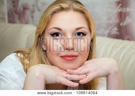 Portrait Of A Beautiful Middle-aged Woman.