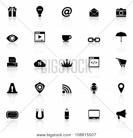 Internet Website Icons With Reflect On White