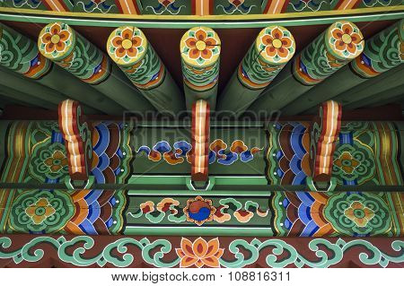 Green Chinese Ethnic Painted Wooden Blockhouse Background