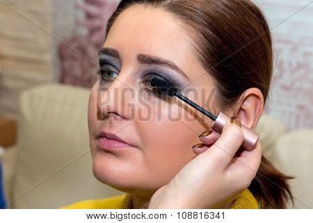 Beautiful Middle-aged Model, Which Is Applied Mascara.