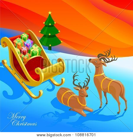 Sleigh with bunch of gifts. Merry Christmas illustration