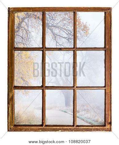 nostalgic autumn scene, foggy park trail - an abstract view from a vintage sash window poster