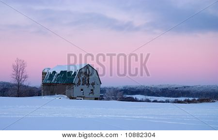 Winter Barn at Dusk