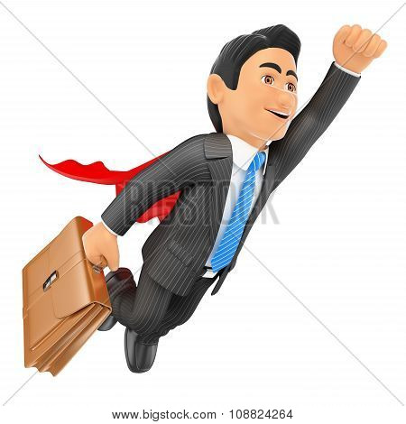 3D Super Businessman Flying With Cape And Briefcase