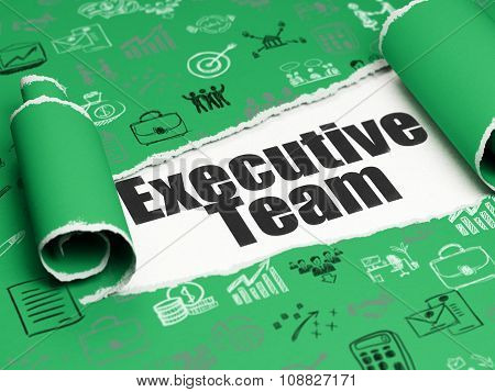 Business concept: black text Executive Team under the piece of  torn paper