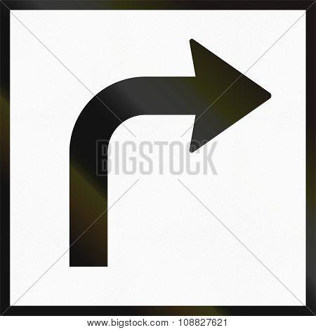 Norwegian Supplementary Road Sign - Turn Sign