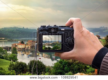 Landscape On The Rear Lcd Screen Digital Camera