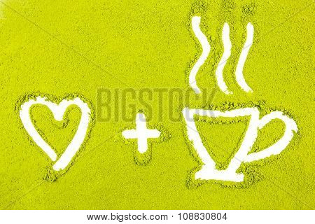 Green Powder Forming Heart And Tea Cup Shape Surface Close Up