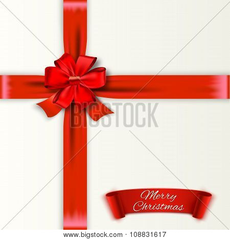 White background with red bow and ribons