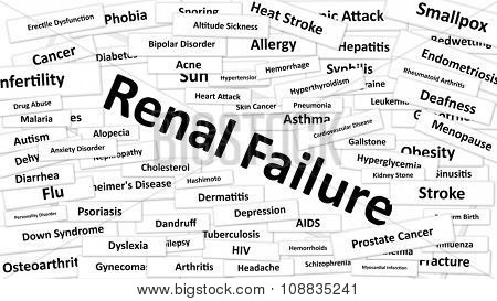 A disease called Renal Failure written in bold type. Black and white words