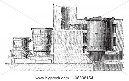 Oven fireplace for wood carbonization, vintage engraved illustration. Industrial encyclopedia E.-O. Lami - 1875.