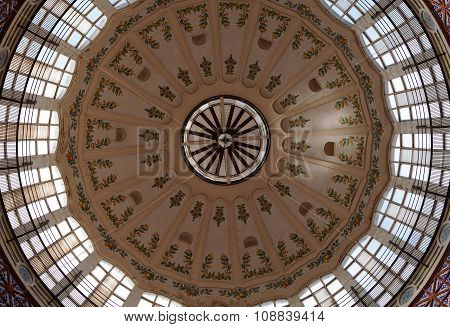 VALENCIA, SPAIN -  NOV 3 2015 : The glass domed ceiling looks down on the Central Market.