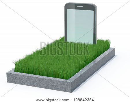 smart phone as a gravestone 3d illustration poster