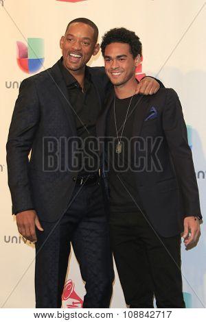 LAS VEGAS - NOV 19:  Will Smith, Trey Smith at the 16th Latin GRAMMY Awards at the MGM Grand Garden Arena on November 19, 2015 in Las Vegas, NV