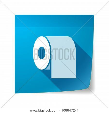 Long Shadow Vector Sticky Note Icon With A Toilet Paper Roll