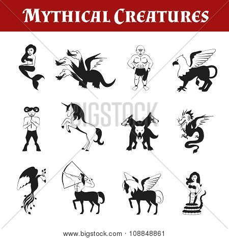 Mythical Creatures Black And White