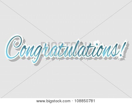 Congratulations banner with black shadow, vector illustration poster