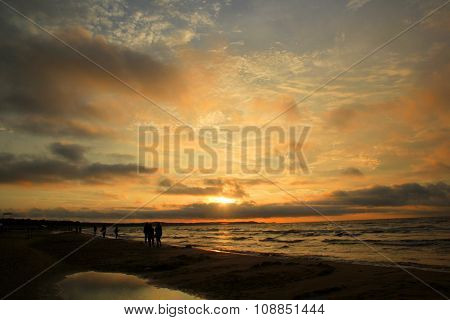 Stunning sunset over Baltic Sea, picture taken on beach in Swinoujscie, Poland poster