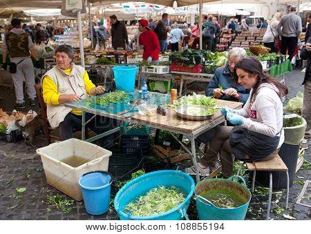 Campo De Fiori Famous Market In Rome