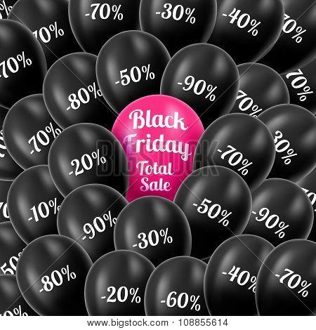 Vector illustration. Black Friday. Realistic black helium balloo