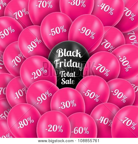 Vector illustration. Black Friday. Realistic pink helium balloon