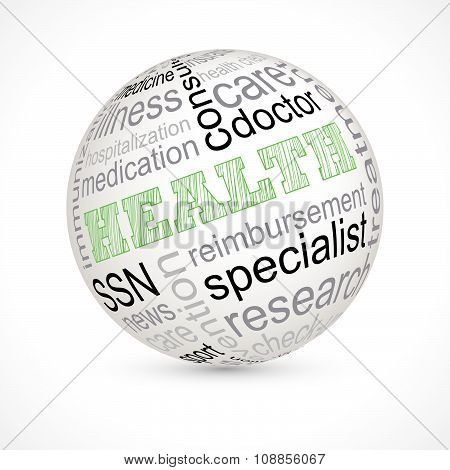 Health Theme Sphere With Keywords