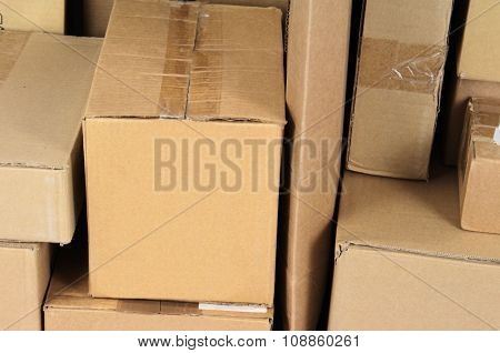 Stacked carton boxes post package close up image