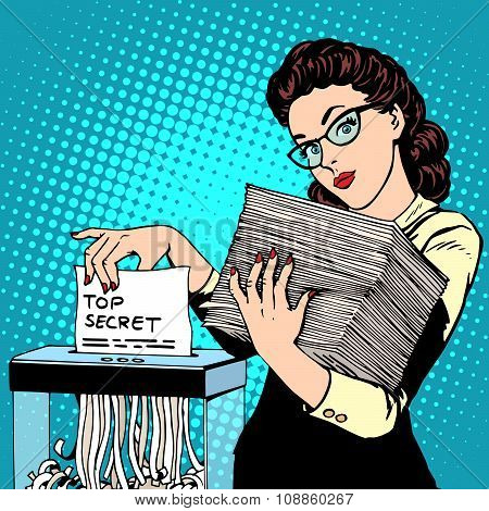 Paper shredder top secret document destroys the Secretary
