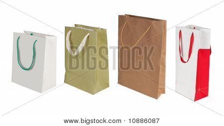 still life of some paper bag over white background poster