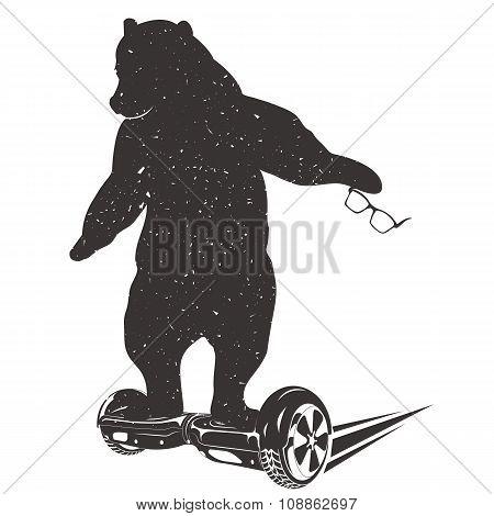 Bear On Two-wheeled Self-balancing Electric Scooter. Bear Symbo