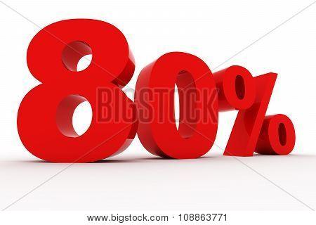 3D Rendering of Number percent red symbol