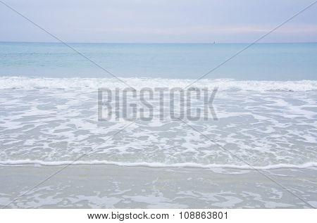 Sea in winter with cloudy and colorful sky. Big wave horizon and nobody. Nature background