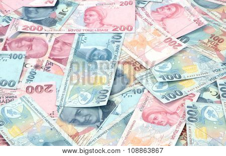 Turkish Lira banknotes ( TRY or TL ) 100 TL and 200 TL close up image