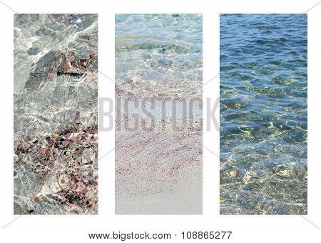 Three Texture Of Transparent Deep Seashore