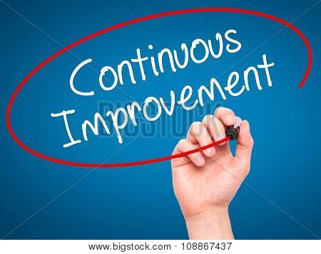 Man Hand writing Continuos Improvement with marker on visual screen.