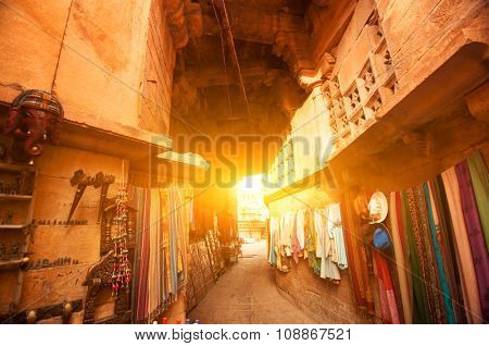 Sunset view of shopping street in the fort of Jaisalmer, Rajasthan, India.