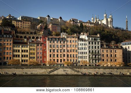 Beautiful view of Old Lyon, coloured houses and the Fourviere basilica in background
