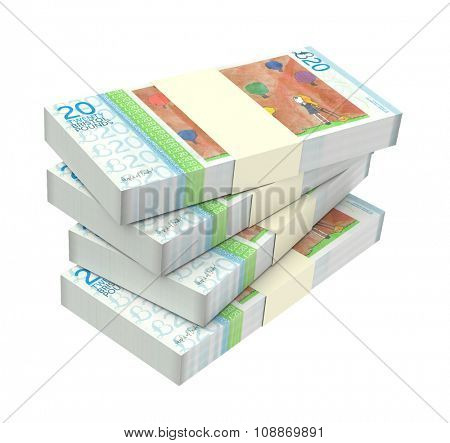 Bristol pound bills isolated on white background. Computer generated 3D photo rendering.