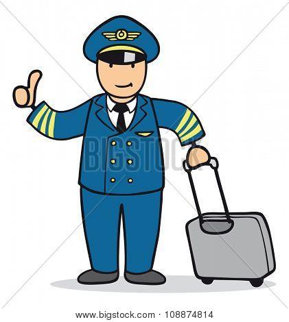 Cartoon man as pilot holding up his thumbs