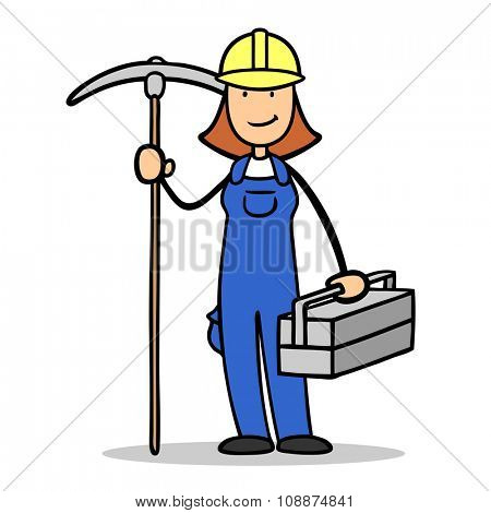 Cartoon woman as female construction worker with tools