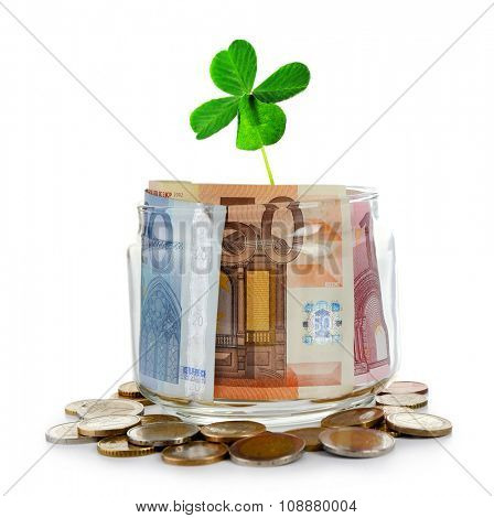 Clover leaf and money isolated on white