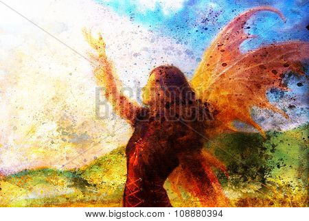 painting fairy woman in a historic dress standing in rays of sunlight amids a wild meadow.