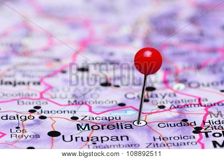 Morelia pinned on a map of Mexico