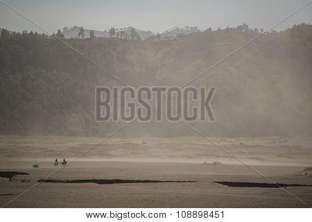 Sandstorm in desert at Bromo Mountain Java ,Indonesia.