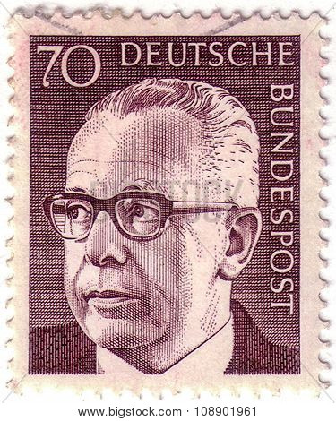 Germany - Circa 1970: Mail Stamp Printed In Germany Featuring Former Federal President Gustav Heinem