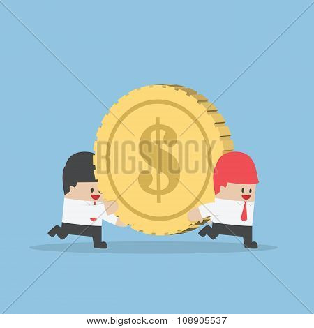 Businessman Help His Friend Carrying Big Money Coin