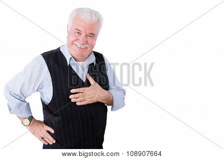 Gracious Polite Elderly Man Showing His Gratitude