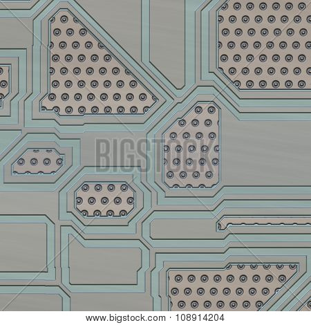 Artificial circuit board close-up conceptual illustration