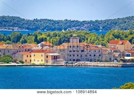 Island of Krapanj waterfront view Dalmatia Croatia poster