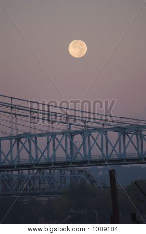 Moonset Over Roebling Bridge